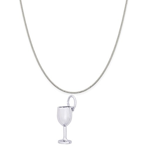 - Genuine Rembrandt Charms Sterling Silver Wine Glass Charm on a Sterling Silver Box Chain Necklace, 18