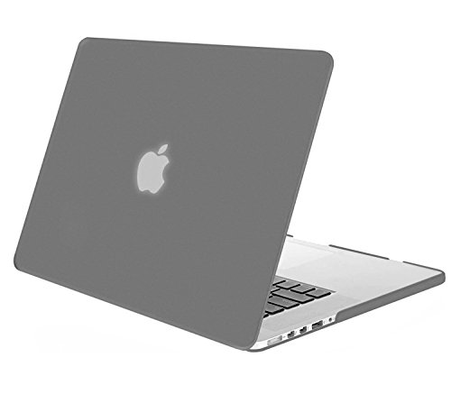 MOSISO Plastic Hard Shell Case Cover Only Compatible [Previous Generation] MacBook Pro (No USB-C) Retina 15 Inch (Model: A1398) (No CD-ROM), Gray