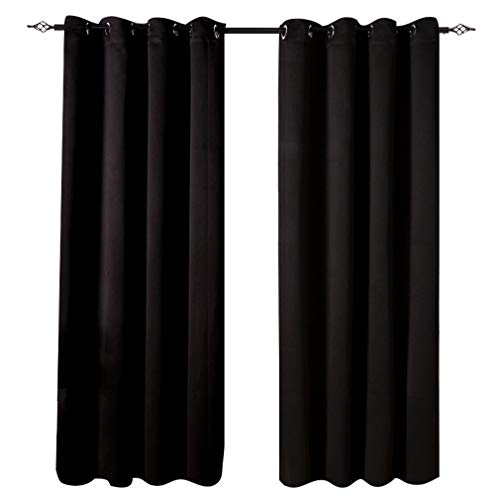 Valea Home Blackout Curtains Room Darkening Thermal Insulated Grommet Solid Window Panel Drape, 1 Panel, 52 x 84 inch Long, Black