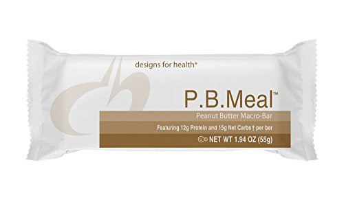 Designs for Health - P.B Meal Peanut Butter Macro Meal Replacement Bar, 1 Box of 12 Bars