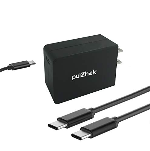 PuiZhak Universal 45W Quick Charge 3.0 Portable Wall Adapter USB Type C To C PD Power Supply Plug With 1.8 Meter Detachable Sync Charging Cable Compatible for Most Type C Laptops,Smartphones-UL Listed by PUIZHAK