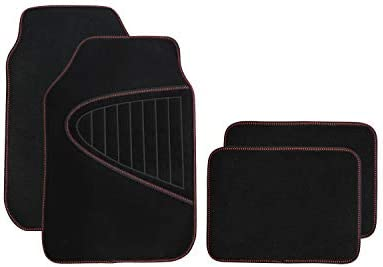 SHIMAKYO Carpet Car Floor Mats for SUV Truck 4 Pcs – Rubber Backing, All Weather SK1321-R Red