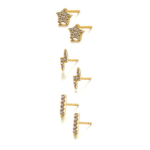Sterling Silver Stud Earrings Dainty Set Mini Bar, Star and Lightning Bolt 3 Colors Available