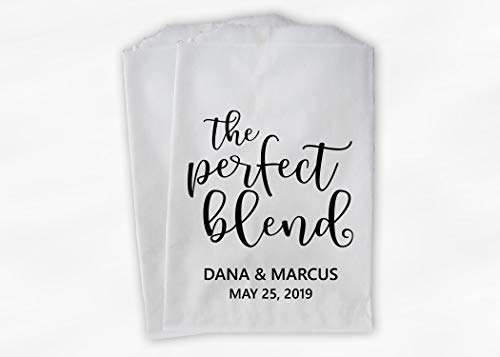 The Perfect Blend Wedding Favor Bags for Tea, Coffee Favors in Black and White - Personalized Set of 25 Paper Bags (0227)