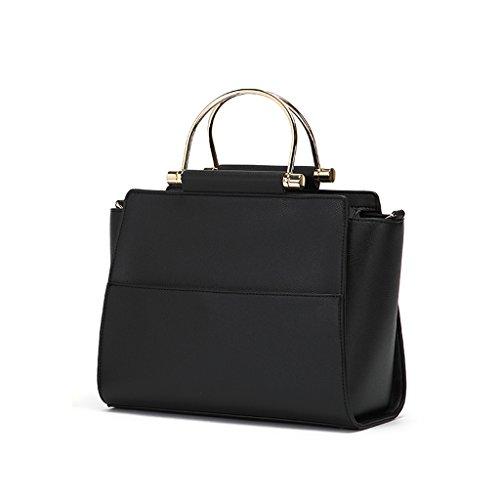 JIUTE Paquete Bolso de Hombro de Color Sólido de la Moda de Cuero de la PU de Las Mujeres (Color : Blanco) Black