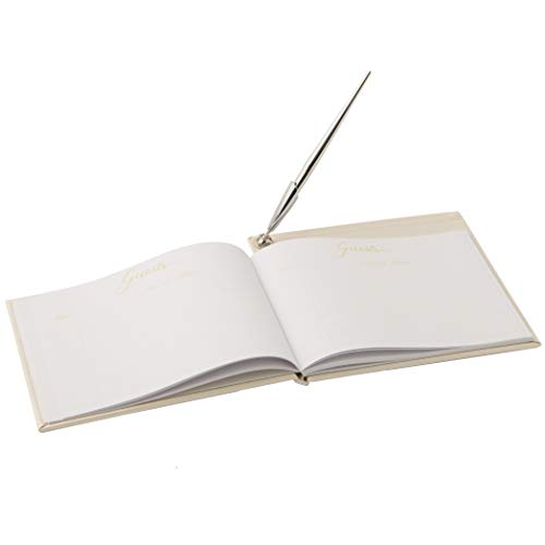 Wilton White All Occasion Guest Book with Pen and Pen Stand Set, 9.2