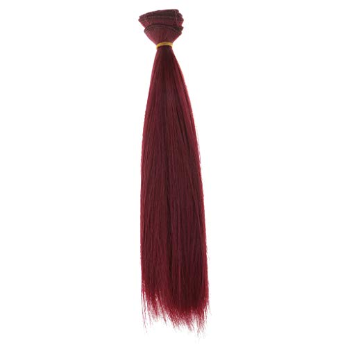 DYNWAVE High Temperature Wire Hair Wigs - Fashion Doll Straight Wigs Hairpiece - DIY Craft Hair Bulk Wigs for Dollfie Bjd Doll Handmade Hair - Wine Red -