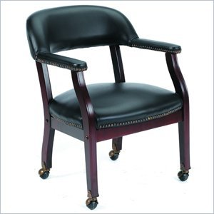 Boss Captains Arm Chair with Casters - B9545 - Oxblood Vinyl ()
