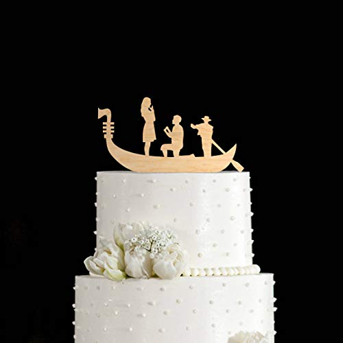 Venice cake topper gondola wedding cake topper groom proposed to bride wedding cake topper