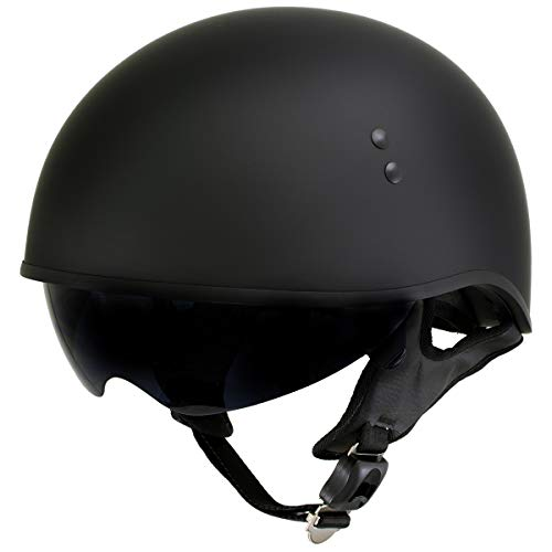 Outlaw T-72 'Black Widow' Flat Black Motorcycle Half Helmet with Drop Down Visor - 2X-Large