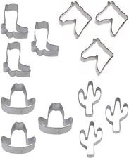 12 Mini Western Cookie Cutters 1 Dozen Party Favor Horse Head Cowboy Boot Cactus