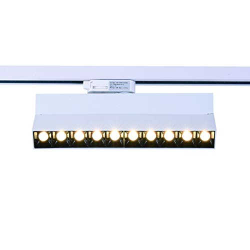 mirrea 20W Dimmable LED Array Track Lighting Heads White Painted Compatible with Single Circuit H Type Track Rail CRI 90 Warm White 3000K Beam Angle 30° for Wall Art or Shop Window
