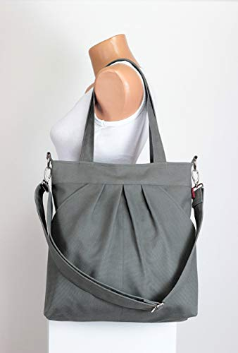 - Gray Tote Bag Washable Two Big Pocket on Front Large Bag Zippered Closed Shoulder Bag CrossBody Removable/Adjustable Strap Best Gift Idea Different Colors are Available Hippirhino
