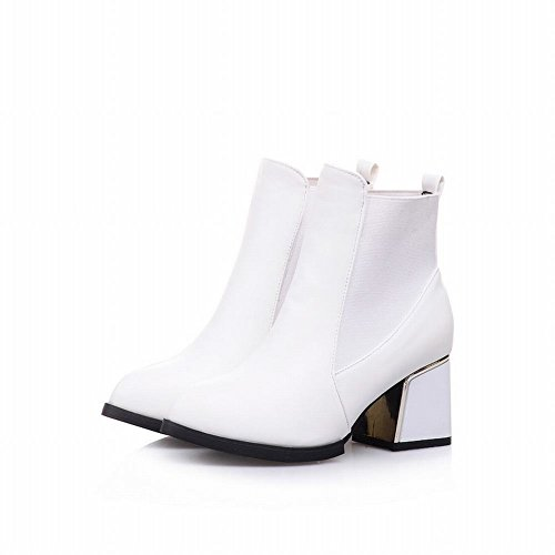 Latasa Damesmode Chunky Mid-heel Enkellaagse Chelsea Boots, Dress Boots White