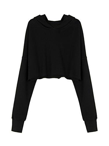 Black Cotton Crop (Joeoy Women's Loose Black Cotton Crop Top Hoodie Sweatshirt Pullover-S)