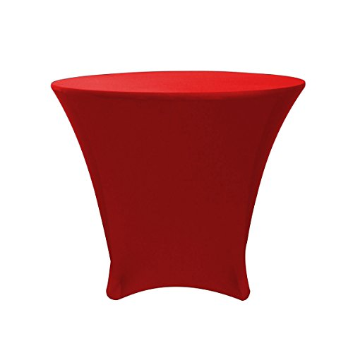 Your Chair Covers - 36 x 30 inch Cocktail Round Stretch Spandex Table Cover - Red, Stretch Tablecloth (Cocktail Table 36)