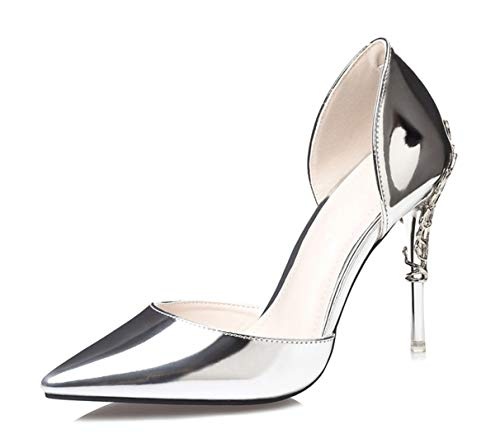 Owen Moll Women Pumps, Luxury Pointed Toe Patent Leather Metal Flowers High Heels Shoes