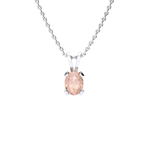 Sparkle Bargains 1/3 Carat Oval Shape Morganite Necklace in Sterling Silver, 18 inches