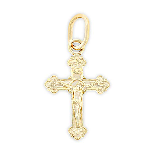 (Charm America - Gold Baby Crucifix Charm - 10 Karat Solid Gold - Nickel Free)