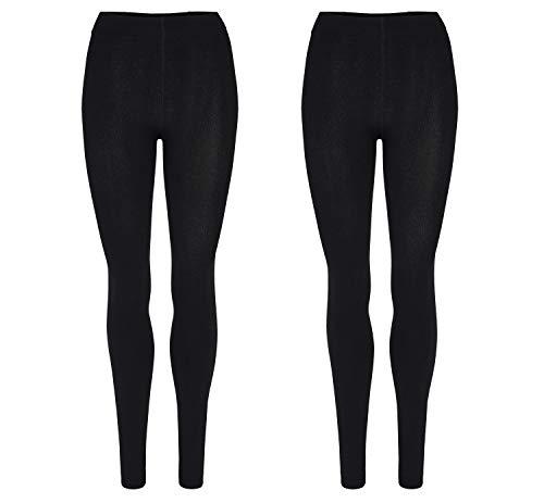 Palleon lot de 2 leggings d'hiver avec doublure en polaire – 42-44 – Noir