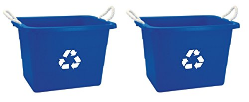 United Solutions EcoSense TU0105 Blue Nineteen Gallon Rough and Rugged Recycling Tub with Rope Handles -19 Gallon Rope Handled Recycling Bin in Blue (2 PACK) by United Solutions (Image #1)