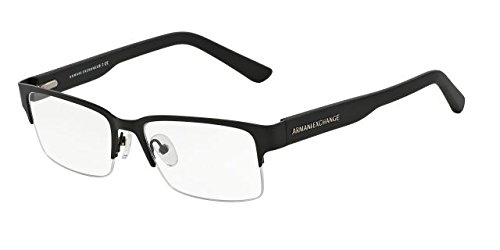 Armani Exchange AX1014 Eyeglass Frames 6063-53 - Satin Black/Matte Black - Armani Frame Glasses