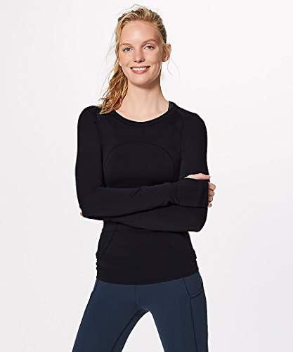 tシャツ 長袖 女性のスポーツヨガTシャツクイックドライクルーネックヨガランニングフィットネストップスウェットタイツ