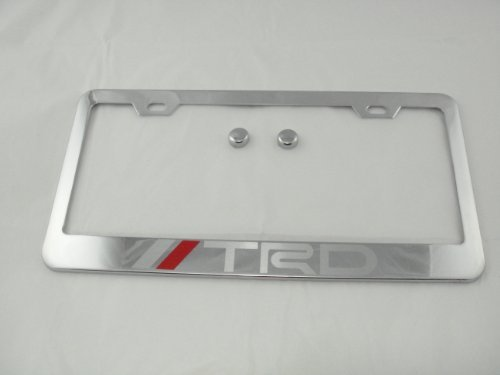 (TRD Chrome License Plate Frame with Cap For Toyota)