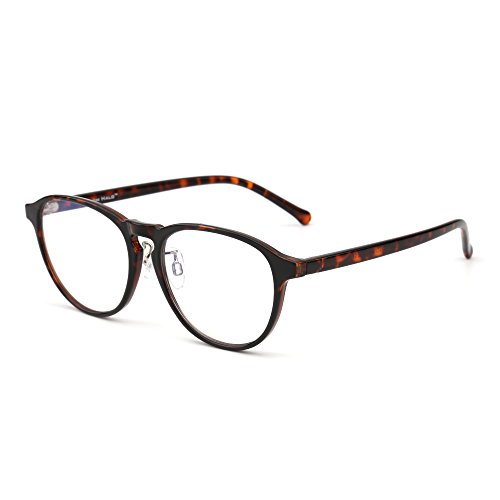 Blue Light Blocking Round Reading Glasses, Reduce Eye Strain Anti Glare Clear Lens Video Rectangle Eyeglasses Men Women (Tortoise/Clear) by JIM HALO