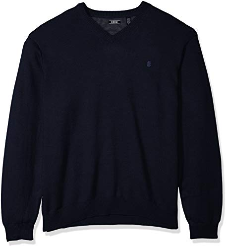 (IZOD Men's Big and Tall Premium Essentials Solid V-Neck 12 Gauge Sweater, Peacoat, 4X-Large)