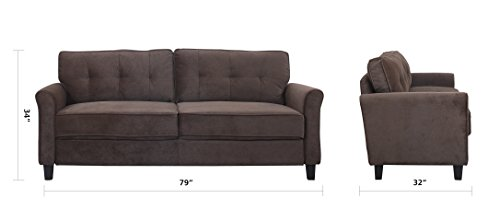 Divano Roma Furniture Classic Ultra Comfortable Brush Microfiber Fabric Living Room Sofa (Brown)