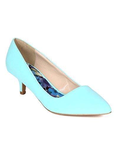 Qupid BE11 Women Nubuck Pointy Toe Kitten Low Heel Pump - Mint (Size: 9.0)