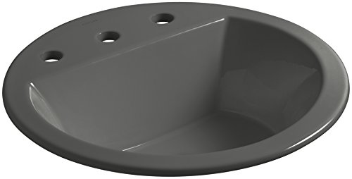 New KOHLER K-2714-8-58 Bryant Round Drop-In Bathroom Sink with Widespread Faucet Holes, 8, Thunder ...