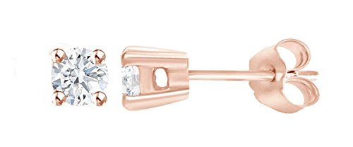 IGI Certified Round Lab Grown Diamond Stud Earrings In 10K Solid Rose Gold (0.48 cttw, G-H Color, SI2-I1 Clarity)