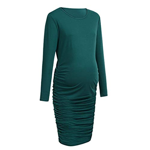 64e8d3c9 Women Pregnant Bodycon Maternity Solid Side Ruched Dress Long Sleeve  Nursing Dresses Clothes (M,