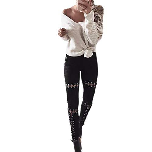 Para Hacia Color Negro Estiramiento Largo Tirar Cómodo Qiyun Atractivo Mujer Pantalón Fuera Sólido Trabajo Hueco 8xdBnnvw
