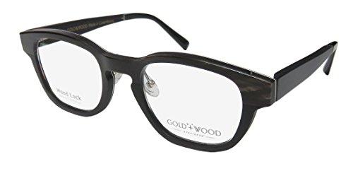 Gold & Wood Sirrah-B Mens/Womens Designer Full-rim Wood Flexible Hinges Eyeglasses/Glasses (48-21-140, Dark Brown Horn / - Wood Temple Eyeglasses