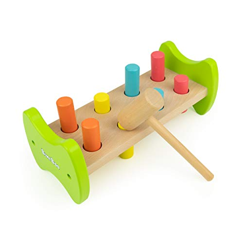 - Bimi Boo Wooden Pounding Bench Toy with Mallet and 8 Pegs for Toddlers
