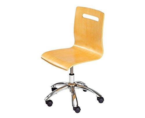 Bürodrehstuhl aus Holz mit extra leisen Laufrollen, Drehstuhl Buche, Schule, Schreibtischstuhl, Bürostuhl, Holzstuhl höhenverstellbar