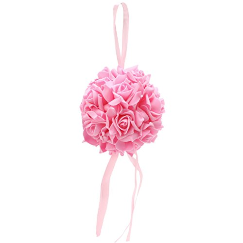 Qisuw Rose Flowers Ball Kissing Pomander Form Ball Pew Bows Wedding Party Garden Supplies New (Pink) from Qisuw