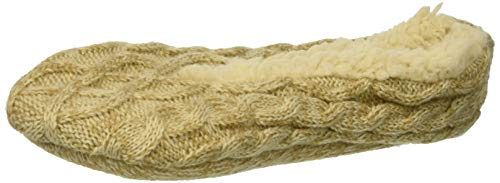 Dearfoams Women's Ballerina Slipper Sock Cable Knit, Desert, Small-Medium