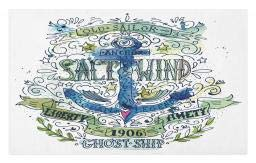 Ambesonne Marine Doormat, Anchor Salt and Wind 1906 Liberty Amity Ghost Ship Old Sailor Stormy Ocean Legend, Decorative Polyester Floor Mat with Non-Skid Backing, 30 W X 18 L Inches, Multicolor ()