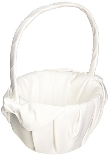 Love Knot Wedding Accessories Flower Girl Basket, White by Beverly Clark (Image #1)'