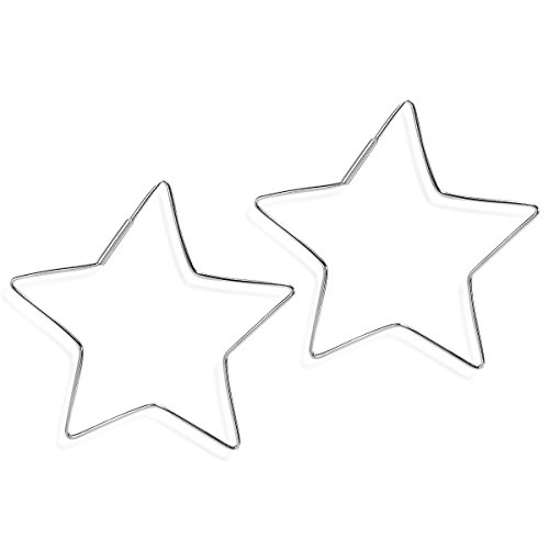 55 mm Groovy Star Shape Sterling Silver Hoop Earrings (Sterling Silver Star Shape)