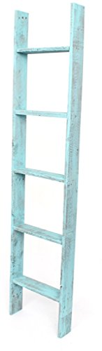 BarnwoodUSA Rustic Farmhouse Blanket Ladder - Our 5 ft Ladder can be Mounted Horizontally or Vertically and is Crafted from 100% Recycled and Reclaimed Wood   No Assembly Required   Turquoise