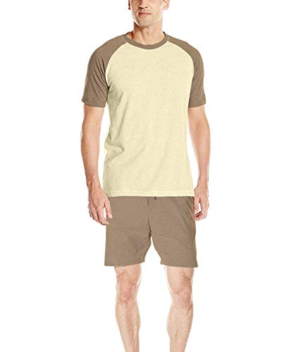 Hanes Men's Adult X-Temp Short Sleeve Cotton Raglan Shirt and Pants Pajamas Pjs Sleepwear Lounge Set - Coffee Heather - Lounge Brown Set
