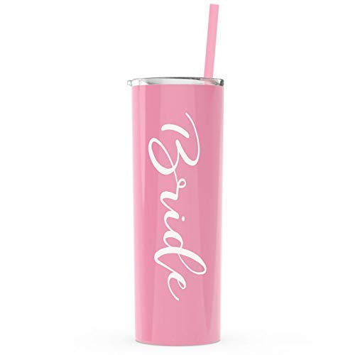 Bride Skinny Tumbler   20 oz Stainless Steel (Pink/White) Bride to Be stainless steel Wine Tumbler w/lid and straw Bride to Be Engagement Gift (Bride - Carnation) Bridal Shower or Wedding Day