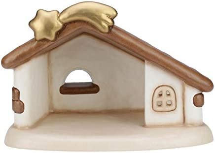THUN® – Capanna Presepe Vuota con Cometa – Statuine Presepe Classico – Ceramica – I Classici