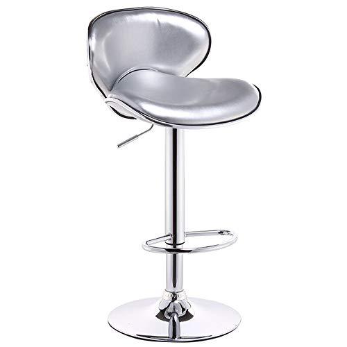 Ares Hitech Inc bar Chair- Bar Chair Lift Bar Chair High Bar Stool Rotating Chair 360° Rotating Bar Chair White (Color : Silver)