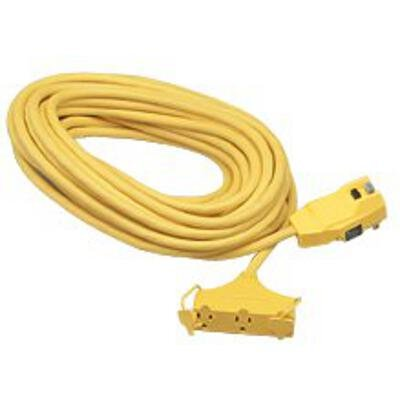 (Coleman Cable 2838 Multi-Outlet Extension Cord with Right Angle GFCI, Yellow, 50-Foot)
